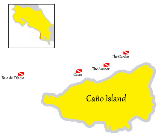 Map Caño Island Scuba diving spots