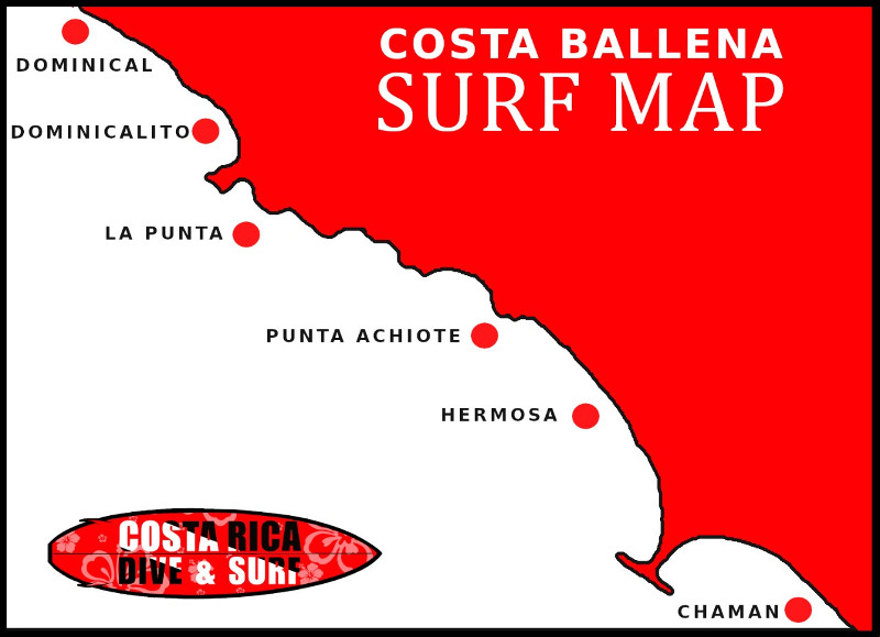 Map with best surf spots in Costa Rica