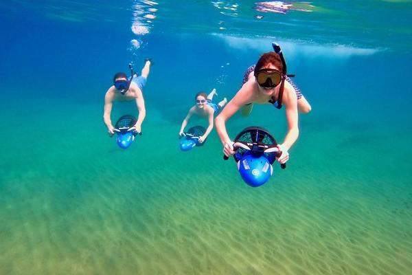 underwater scooter in snorkeling