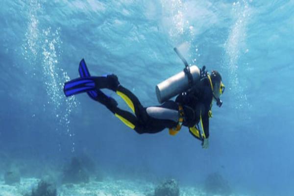 Scuba diver wearing a complete wetsuit
